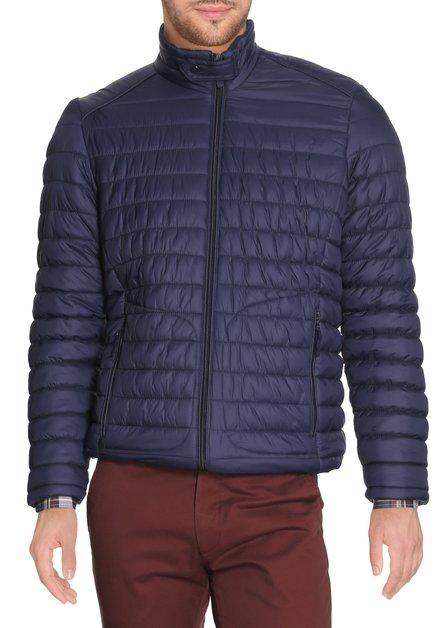Navy gematelasseerde jas met rits