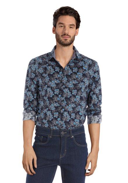 Navy hemd met blauwe bloemen - slim fit