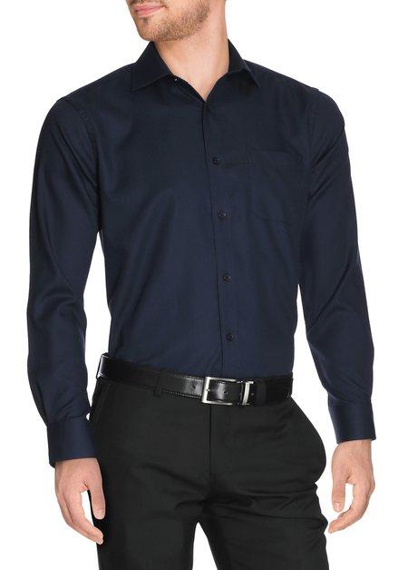 Navy hemd met fijne structuurstof - regular fit