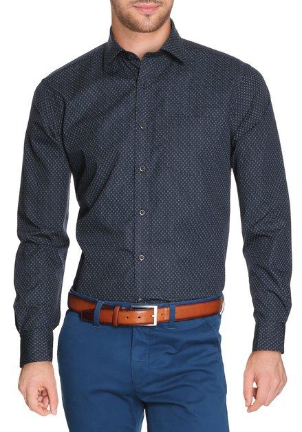 Navy hemd met geometrische print - regular fit