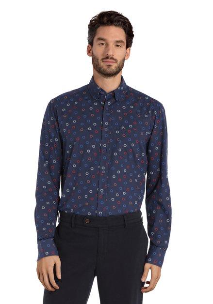 Navy hemd met gestileerde bloemenprint