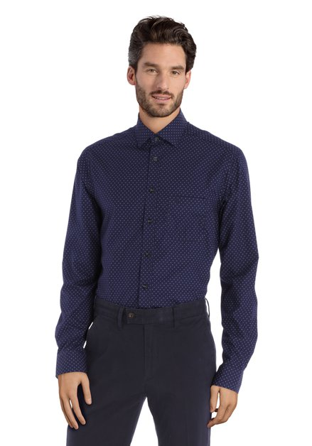 Navy hemd met miniprint - regular fit