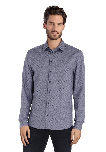 Navy hemd met paisleyprint - slim fit