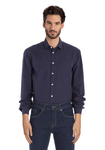 Navy hemd met rode miniprint - regular fit