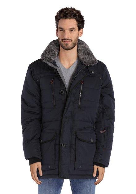Navy jas met afneembare fake fur kraag