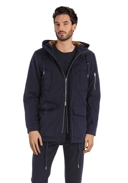 Navy jas met kap en handige zakjes