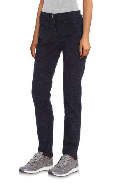 Navy jeans met panterprint - slim fit