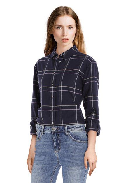 Navy katoenen blouse met grijze ruiten