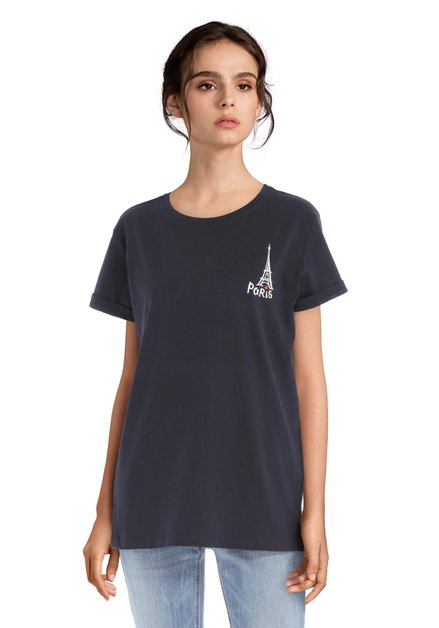 Navy katoenen 'Paris' T-shirt