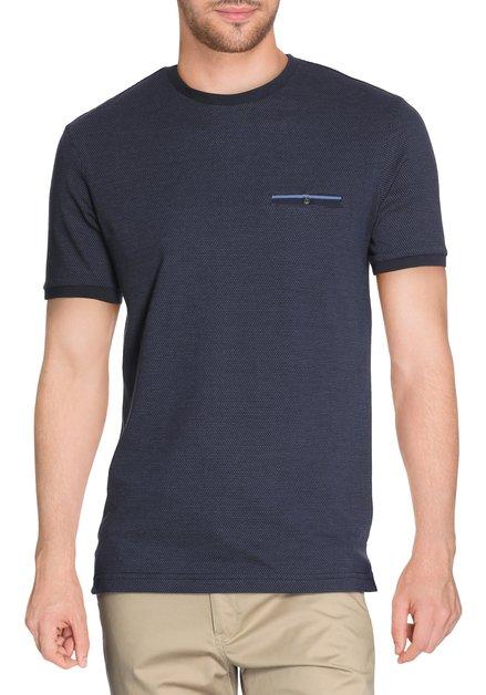 Navy katoenen T-shirt spikkel en ronde hals