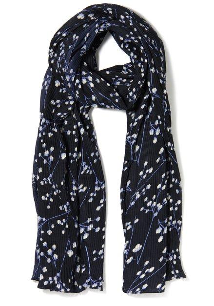 Navy sjaal met bloemen in plisséstof
