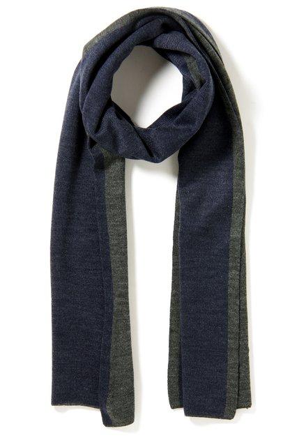 Navy sjaal met donkergrijs biesje