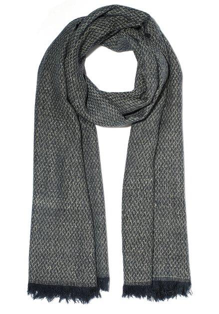 Navy sjaal met in fijn bouclé