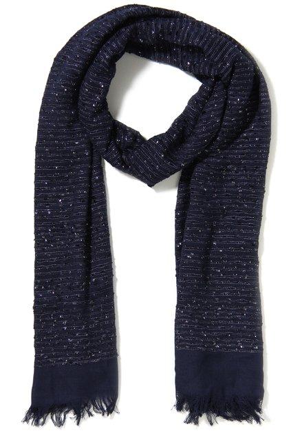 Navy sjaal met motief in reliëf