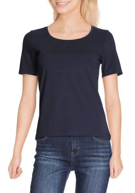 Navy T-shirt met ronde hals in jersey