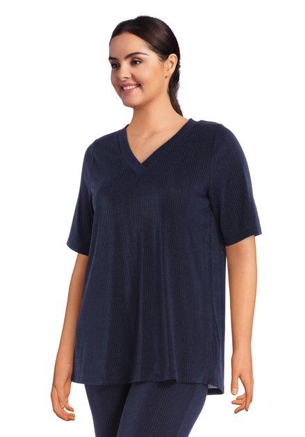 Navy T-shirt met structuurstof in lurex