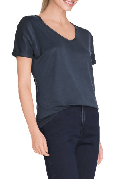 Navy T-shirt met v-hals in modal