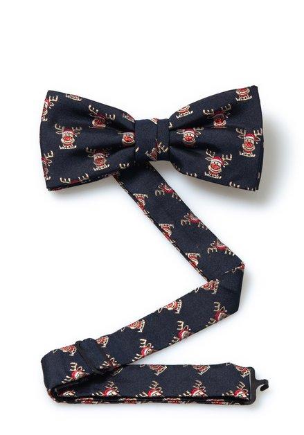 Navy zijden strikdas met rendieren