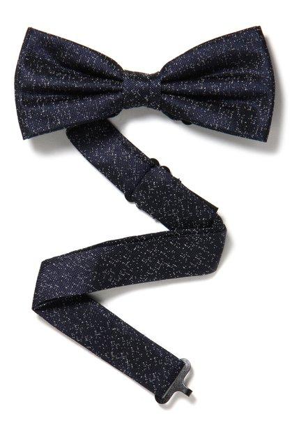 Navy zijden strikdas met spikkel