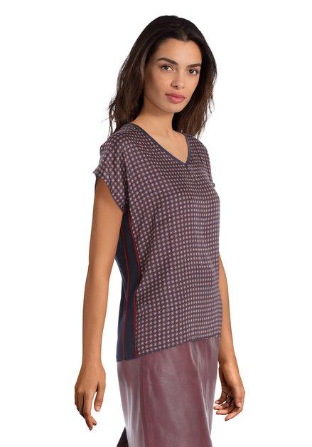 Navy zijdezachte blouse met blokjes