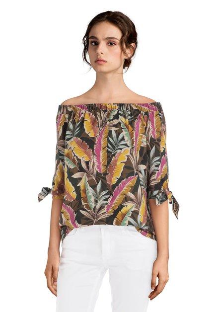 Off-shoulder blouse avec imprimé à feuilles