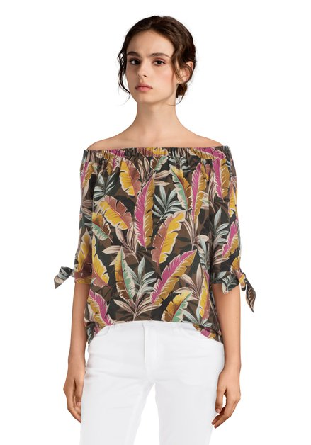 Off-shoulder blouse met tropische bladerprint