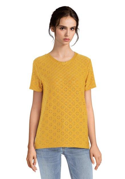 Okergeel T-shirt met geperforeerde bloemenprint