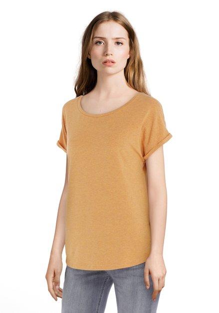 Okergeel T-shirt met omslagboord
