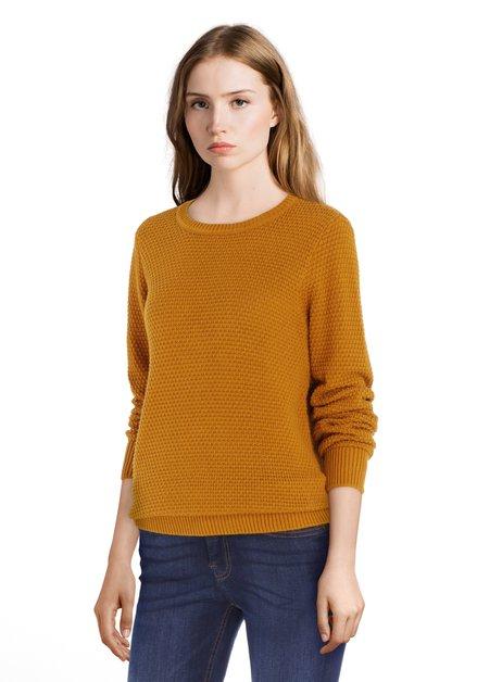Okergele trui met in tricot