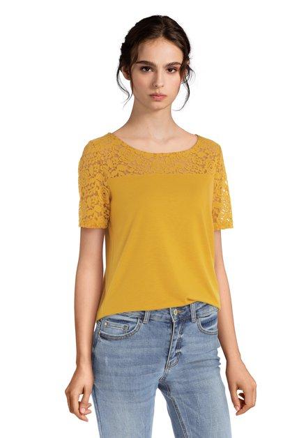 Okerkleurig T-shirt met kanten mouwen