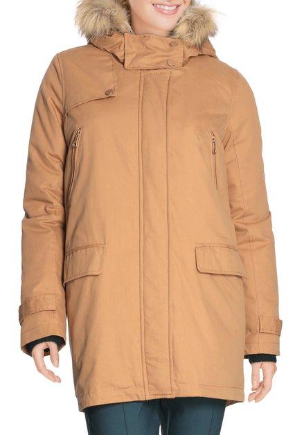 Okerkleurige duffelcoat met nepbontje