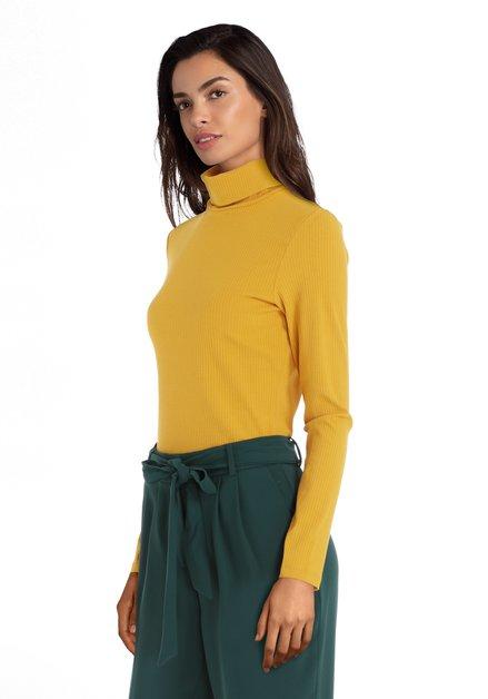 Okerkleurige geribde trui met rolkraag