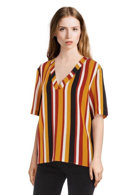 Okerkleurige gestreepte blouse met V-hals