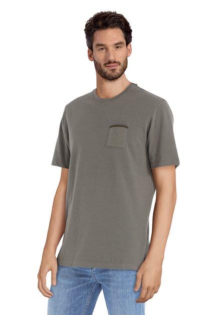Olijfgroen T-shirt met borstzakje en ronde hals