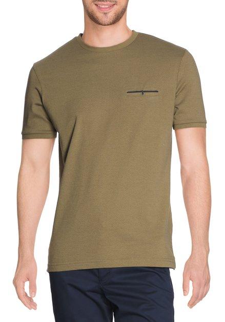 Olijfgroen T-shirt met spikkel en ronde hals