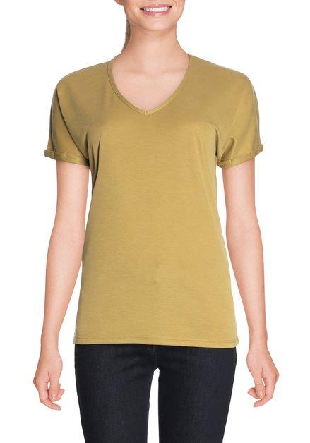 Olijfgroen T-shirt met v-hals in modal