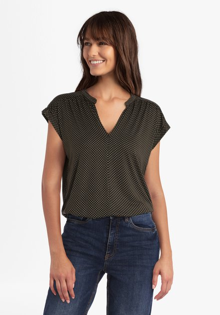 Olijfgroene blouse met ecru miniprint
