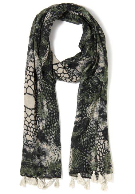 Olijfgroene sjaal met print