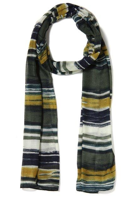 Olijfroene sjaal met flou strepen