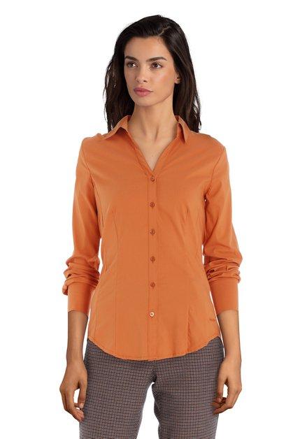 Oranje blouse in stretchkatoen