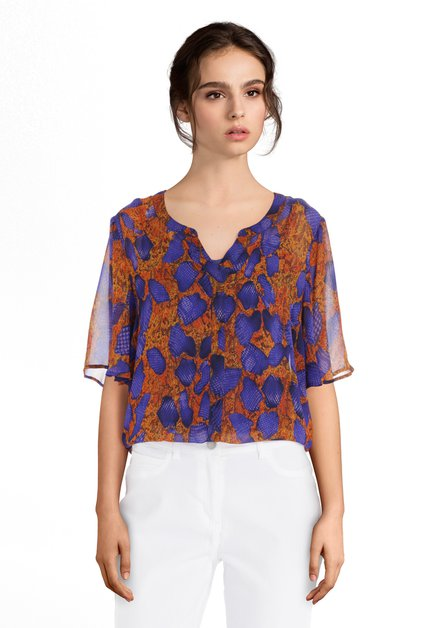 Oranje blouse met slangenprint en blauwe details
