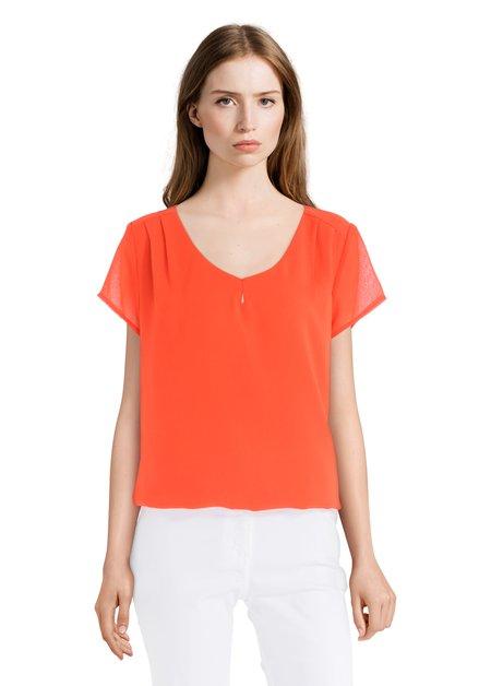 Oranje blouse met v-hals