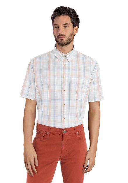 Oranje geruit hemd met korte mouwen – comfort fit