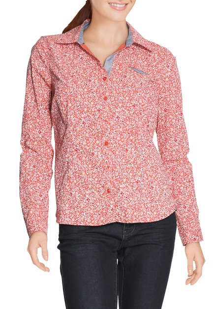 Oranje hemd met fijne bloemenprint