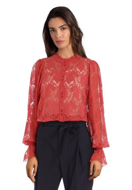 Oranje kanten blouse met opstaand kraagje