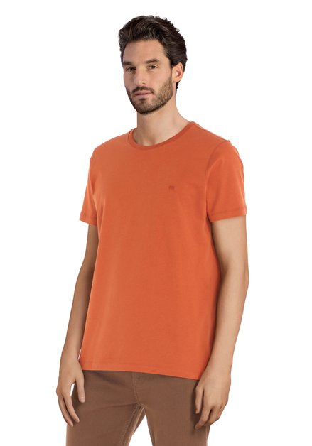 Oranje katoenen T-shirt met ronde geribde hals