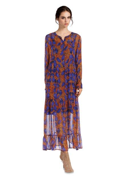 Oranje kleed met slangenprint en blauwe details