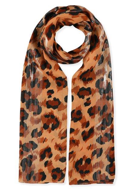 Oranje sjaal met luipaardprint en lurex