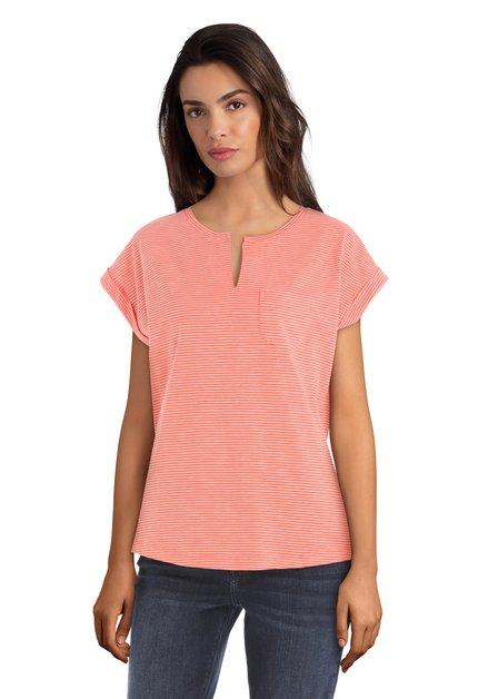 Oranje T-shirt met witte streepjes