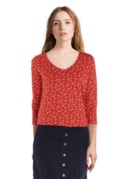 Oranje T-shirt met zwart-witte print